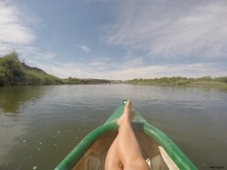 Just kidding.. with only one paddle you can relax on Orange River.