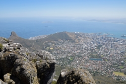 View over Cape Town, Signal Hill and Robben Island.