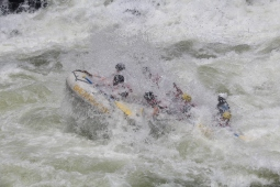 Wild rapids on the Zambezi River.