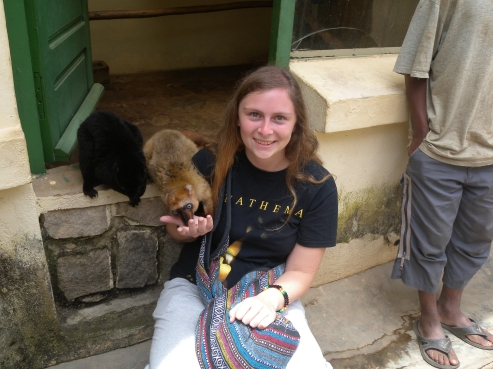 Hanging out with Blue-eyed Black Lemurs in Antananarivo zoo.