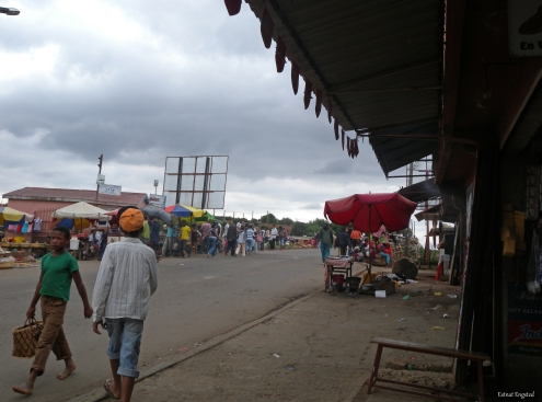 The bridge with a market on it on the outskirts of Antananarivo.