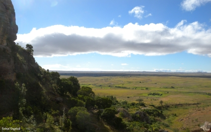 The view over the grassland from the entry point of Isalo National Park, Madagascar.