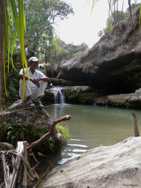A guide sitting on a rock in one of the small pools in Isalo National Park, Madagascar.