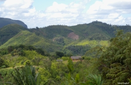 Magnificent scenery from the road near Ranomafana, notice the deforestation on the mountainside. Madagascar.